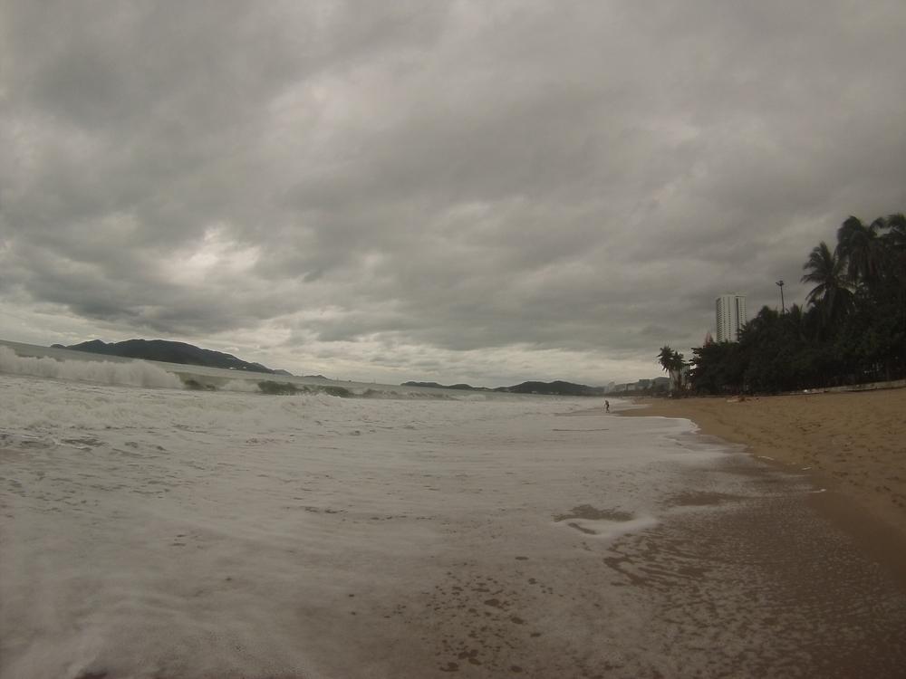 The gloomy barren beach in Nha Trang