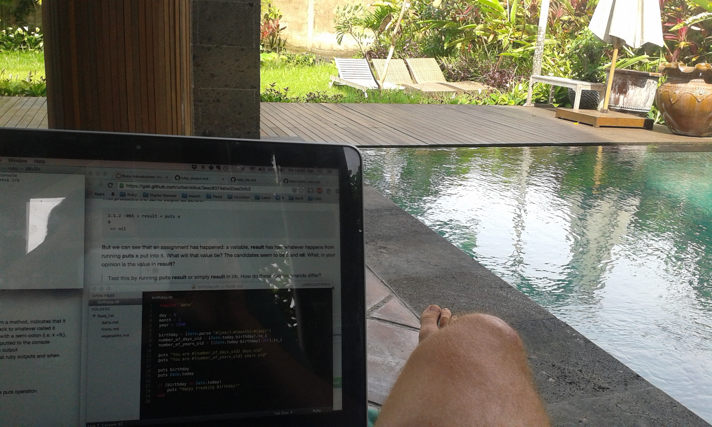 Beanbag Chair + Board Shorts + Pool = The ultimate stress-free coding environment