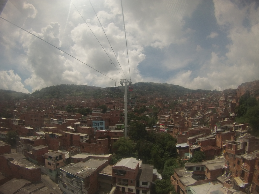Riding Medellin's famous cable cars to the top of the city