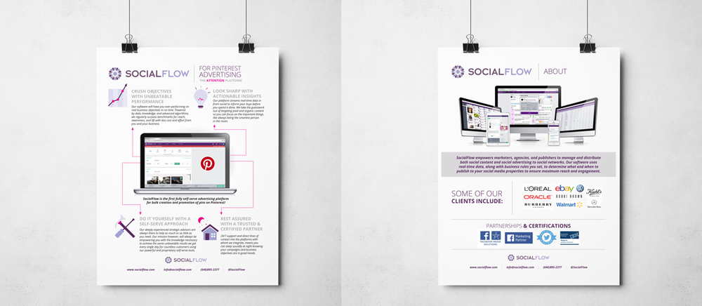 In June of 2015, SocialFlow partnered with Pinterest to the list of social networks that their service works with. This document is the promotional piece created for that milestone.
