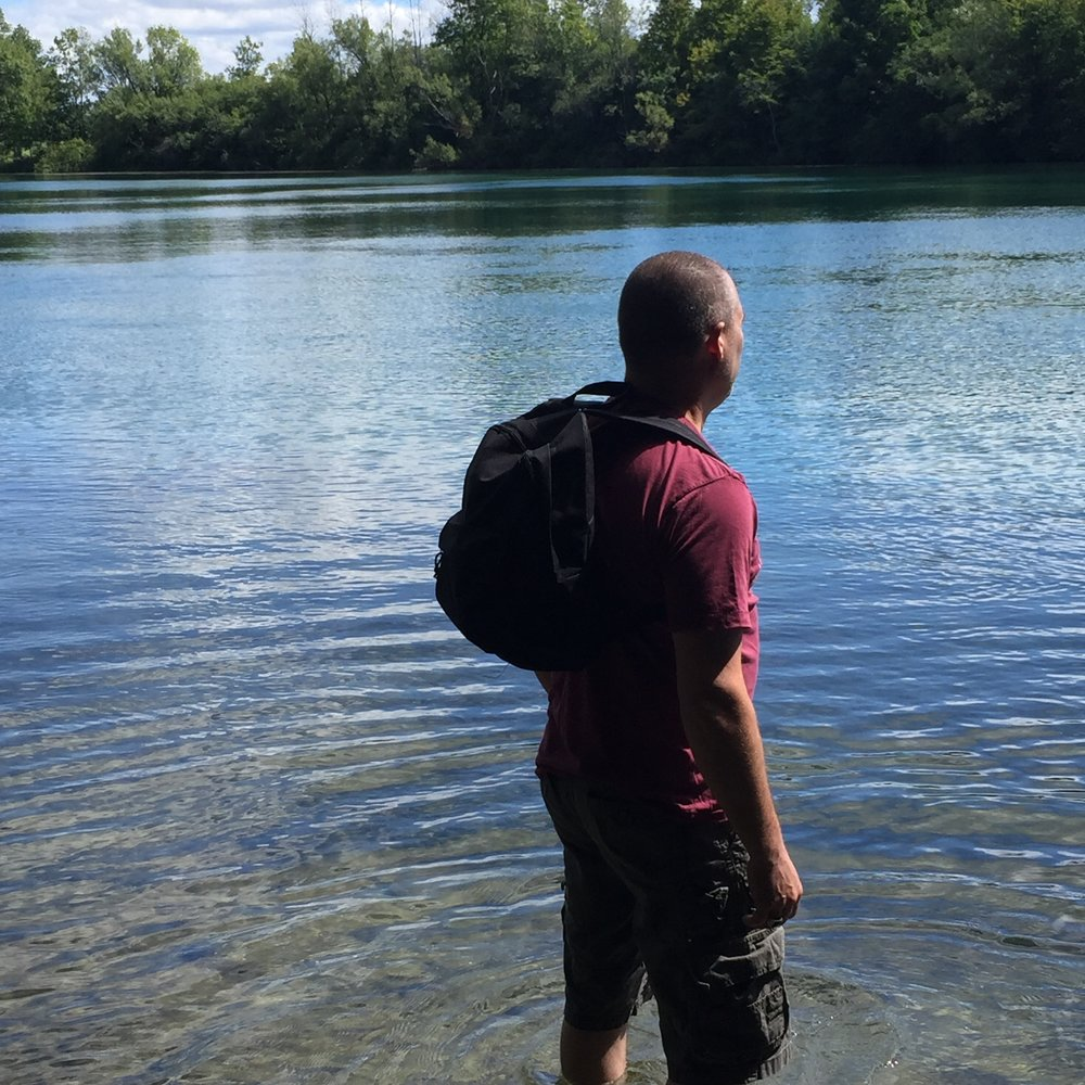 "Here I go ... surveying the river and summoning up the courage to enter into the ""Walking World"" – Tim Windsor"