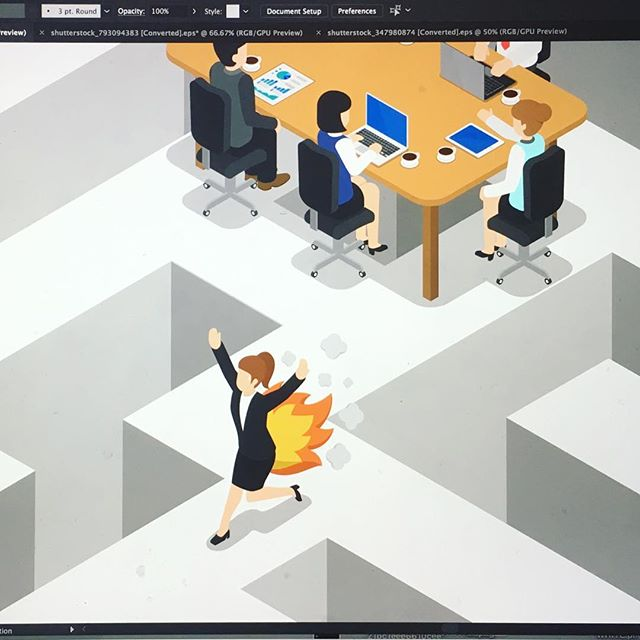 Sometimes I get to make #illustrations for #corporate that adequately express my feelings about #corporatelife ... here's a little #workinprogress about #structural #inefficiency and #toomanymeetings 💥 #illustration #illustrator #sketchbook #vectorart #vectorillustration #design