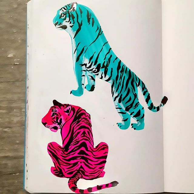 I'm just in a #tiger sort of #mood 🐯 #illustrationart #illustration #illustrator #sketchbook #characterdesign #tigers #instaart