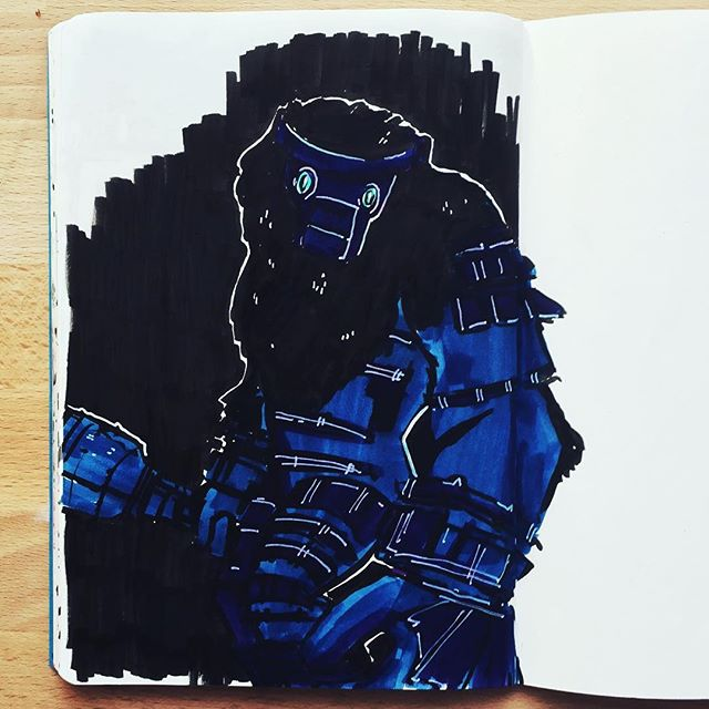 I've been playing a lot of #shadowofthecolossus lately, here is some #shameless #fanart of this super cool dude the first #colossus #watchout #scary #bigboy #sketchbook #sketching #illustration #markers #ink #ps4 #gaming