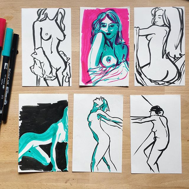 #bored on a #conferencecall doing some quick 1-5 minute #figuredrawing exercises to loosen up ... I will never fall out of love with #cyan and #magenta 🎨 #sketchbook #sketching #gesture #figure #drawing #ink #illustration #instaart