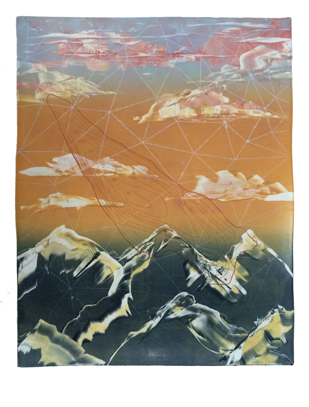 Topographical  , Monoprint and Ink Transfer, 1/1
