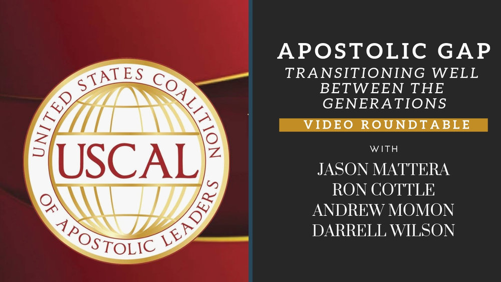 """""""The Achilles heel of the Apostolic is transition."""" - Dr. Ron Cottle  USCAL Seasoned Leaders in Ministry and the Marketplace have a candid conversation on the Apostolic Generational Gap: Transitioning Well Between Generations.   Presenters: Jason Mattera, Ron Cottle, and Darrell Wilson   Facilitators: Al Warner and Vince Thomas, Jr.  Recorded March 25, 2019"""