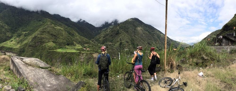 Babes biking around Baños, Ecuador