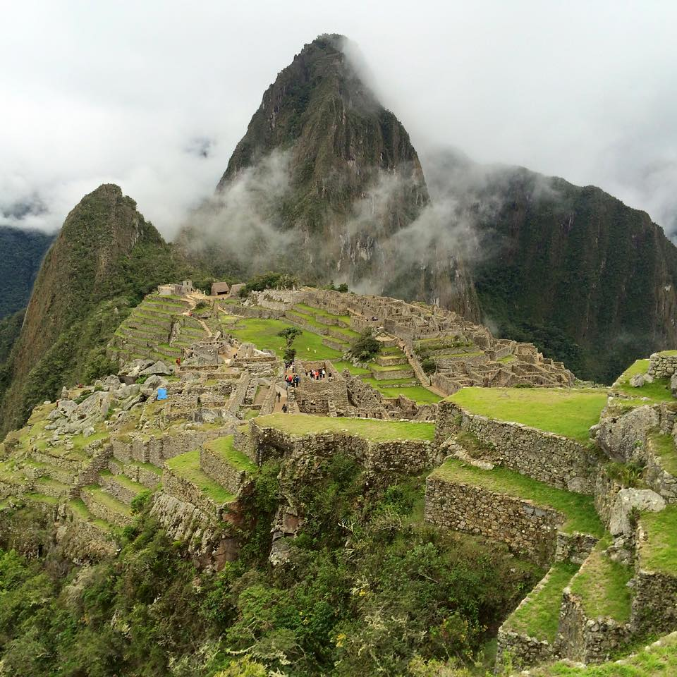 Macchu Picchu - one of the seven wonders of the world!  Besides us four.
