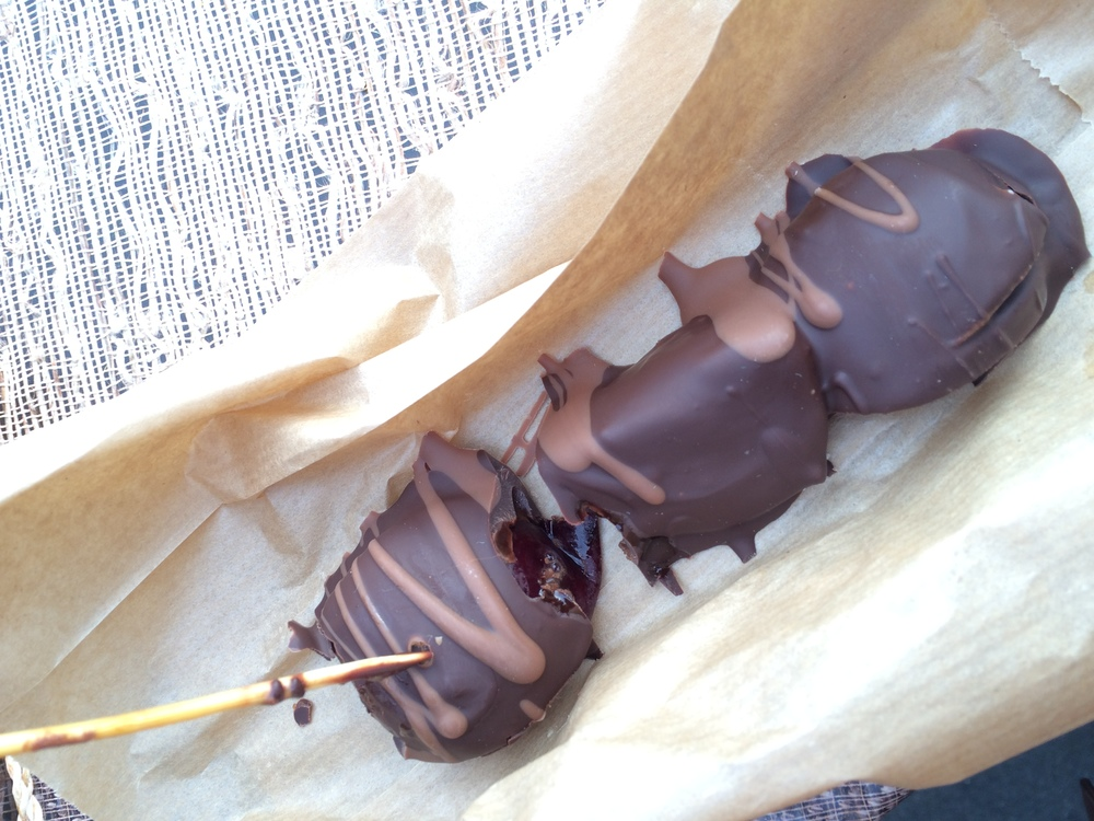 Chocolate covered plums