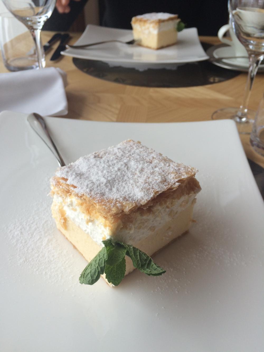 Original Bled Cream Cake at the Lake Bled Restaurant.