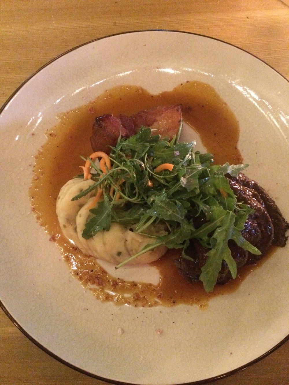 Whale steak at a restaurant called Íslenski Barinn (aka Icelandic Bar) in Reykjavík.
