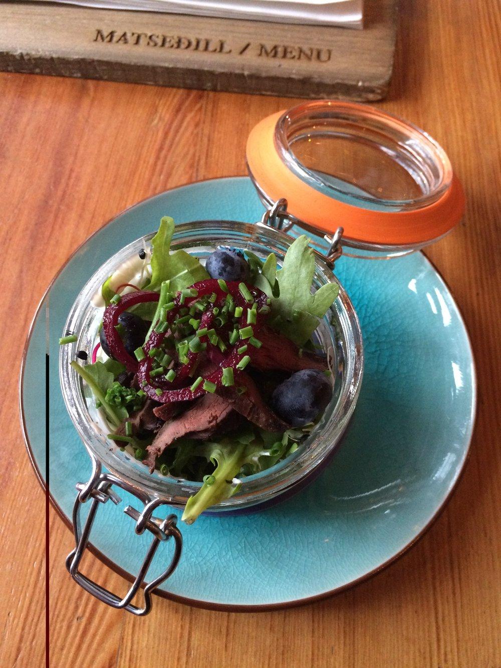 Puffin salad in a jar. Neat. (at Íslenski Barinn in Reykjavík).