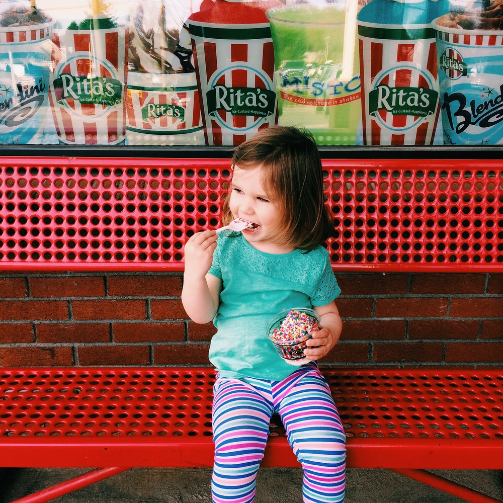 Impromptu visit to Rita's on a hot day.