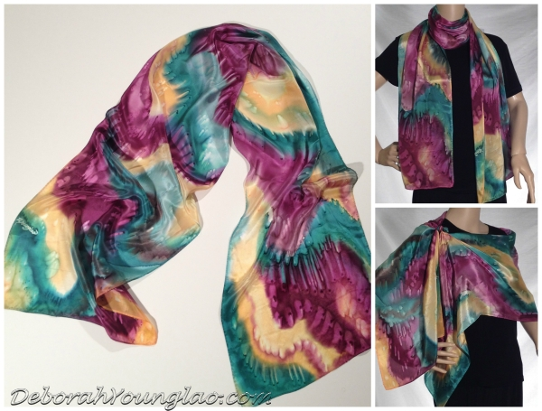 WS101 - 14 x 72 in. Lightweight silk satin scarf.  Forest green, burgundy, golden yellow