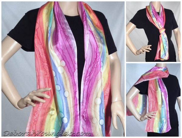#310 - 12 x 60 in., lightweight silk satin scarf.  Magenta, yellow, blue, teal, red