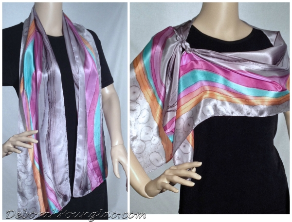 #313 - 12 x 60 in., lightweight silk satin scarf.  Grey, orange, teal, fuchsia