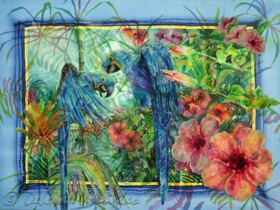 Deborah Younglao parrot silk painting Jungle Blues
