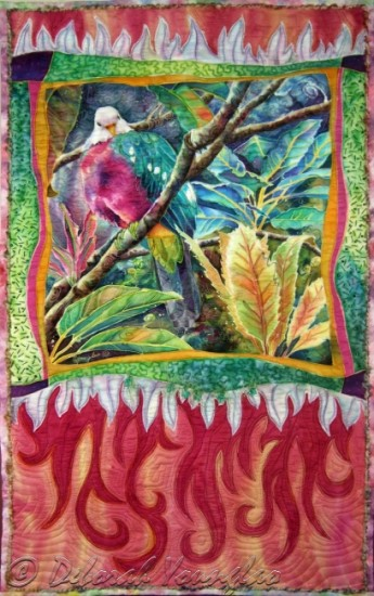 Deborah Younglao parrot art quilt Magnificent Fruit Dove
