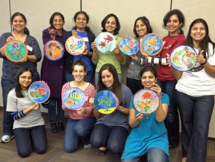 Sun Catcher silk painting class at Credit Suisse