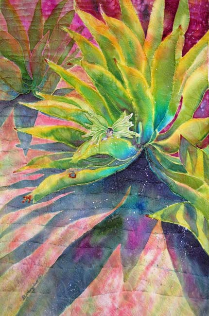 "Deborah Younglao quilted silk painting ""Afternoon Agave"""