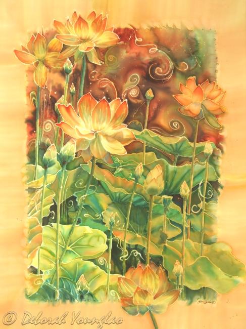 Deborah Younglao lotus flower painting on silk: lotus Field