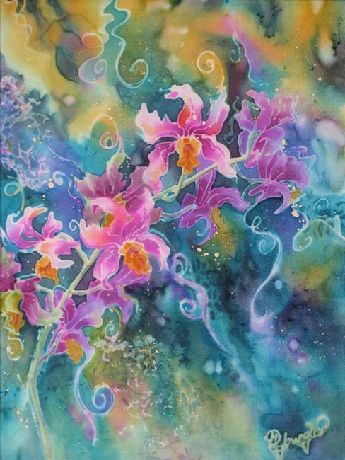 orchid flower silk painting: 'Branching Out'