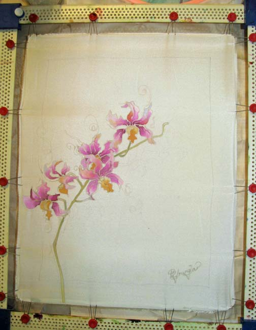 orchid flower silk painting in progress