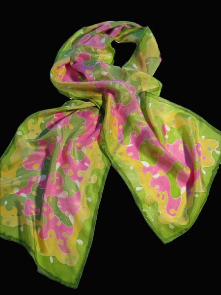 Deborah Younglao silk scarf with scribble design in pink green and yellow