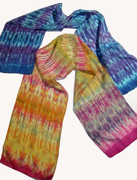Deborah Younglao shibori silk scarves that were steamed in microwave