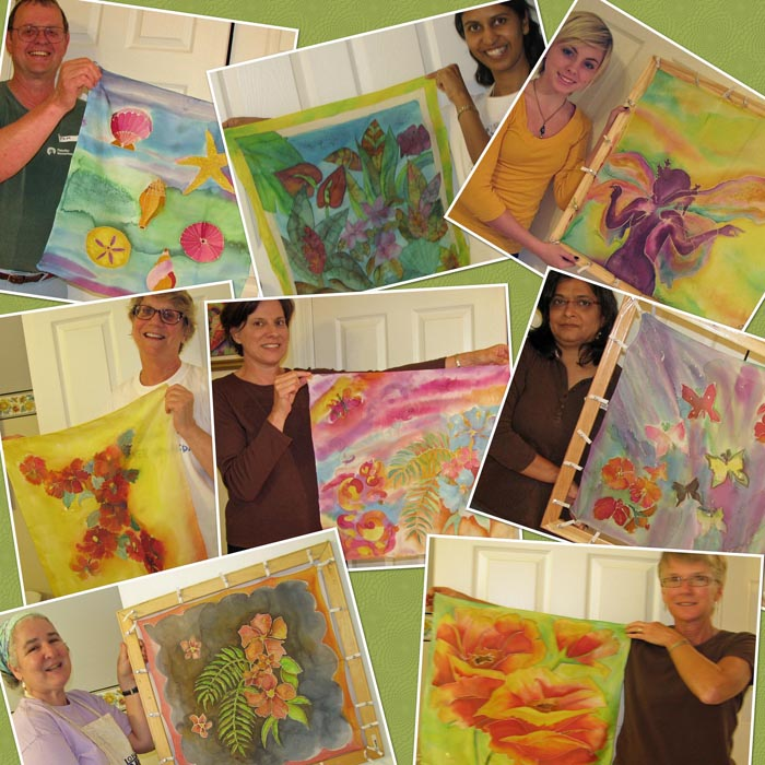collage of students with their silk paintings