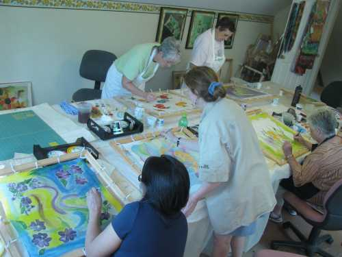 Deborah Younglao silk painting class group