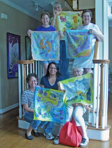 Deborah Younglao silk painting class: finished scarves