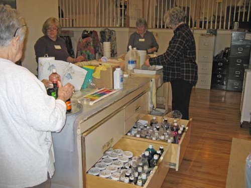 Piedmont Silk Painters: Marcia's studio showing drawers full of dye