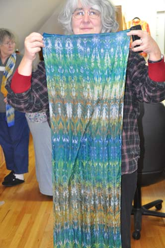 Deborah with her pleat/wrap scarf