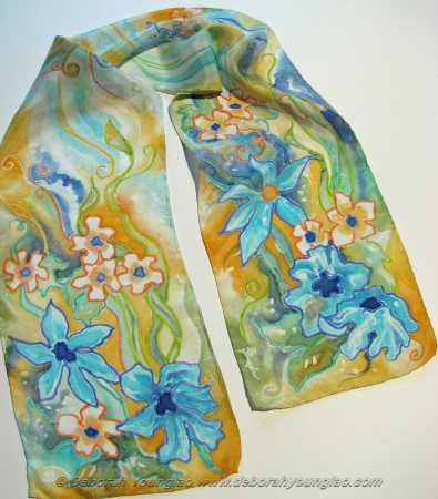 Deborah Younglao hand painted silk scarf: turquoise blooms silk scarf