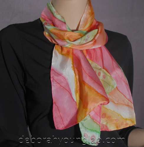 Deborah Younglao hand painted silk scarf: Lollipops