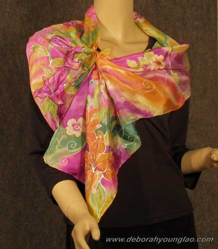 deborah younglao hand painted silk scarf: spring's bloomin'
