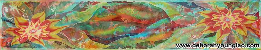 Deborah Younglao hand painted silk scarf Flower Pond