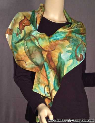 Deborah Younglao Earth Awakens hand painted silk scarf