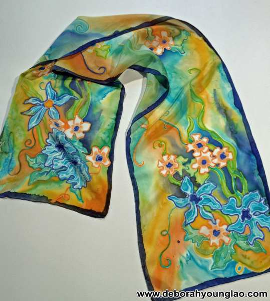 Deborah Younglao hand painted silk scarf: Turquoise Bouquet
