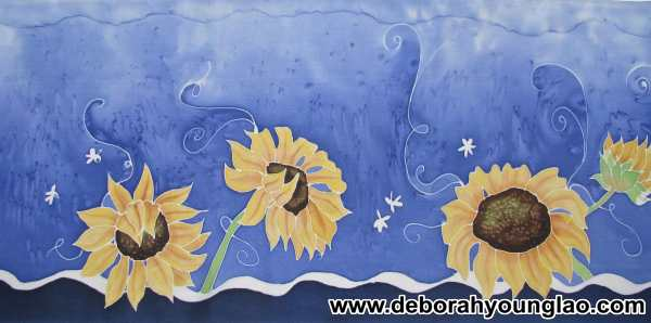 sunflowers on blue detail