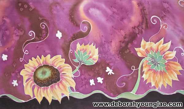 Deborah Younglao hand painted sunflower silk scarf detail