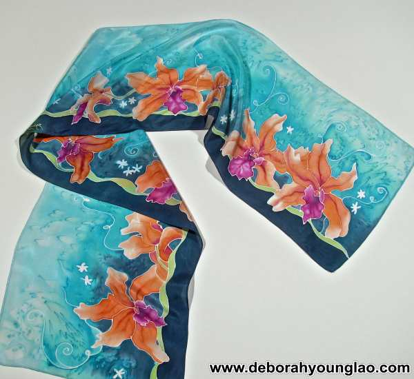 Deborah Younglao hand painted silk scarf: Tangerine Orchids