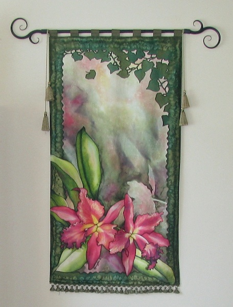 Deborah Younglao orchids painting on silk: Orchids in the Mist