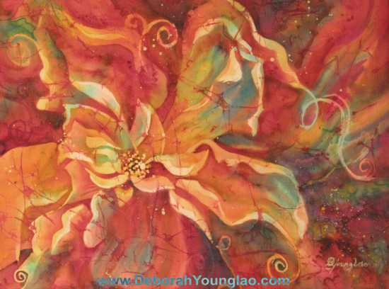 Deborah Younglao abstract floral silk painting: Flaming Flower 2