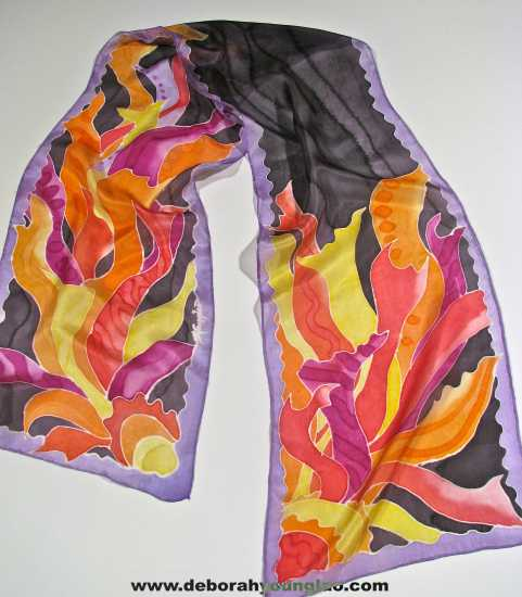 Deborah Younglao hand painted abstract silk scarf Sunshine on a Cloudy Day