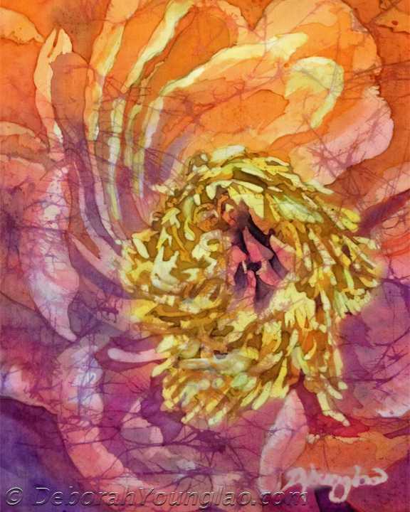Deborah Younglao batik silk painting Peony in Joy 1