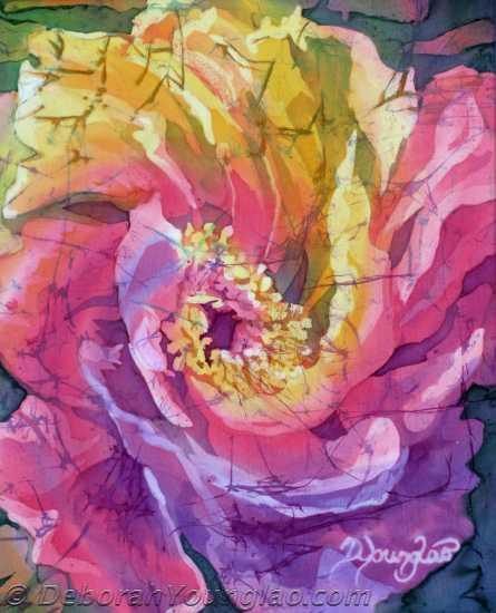 Deborah Younglao batik silk painting Peony in Joy 4