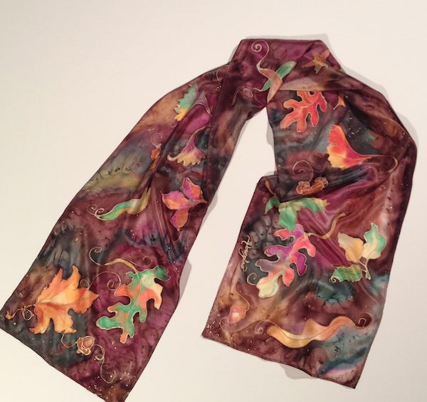 Deborah Younglao hand painted silk scarf fall leaves